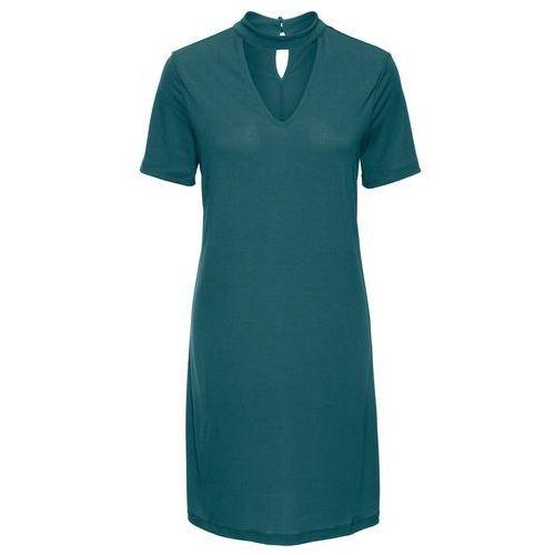 Must have: sukienka z ozdobną stójką bonprix niebieskozielony, kolor zielony