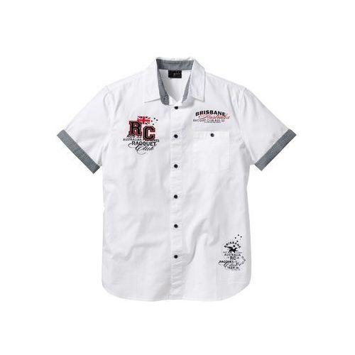 Koszula z krótkim rękawem i nadrukiem bonprix biały