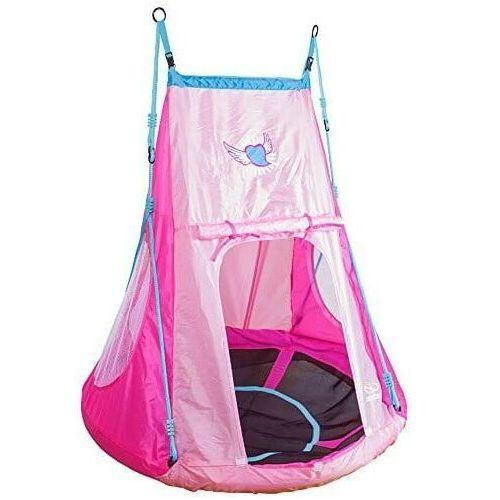 Huśtawka bocianie gniazdo z namiotem heart- pełne siedzisko 110 cm dla dzieci marki Hudora