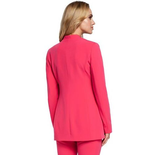 ee936b59531cc Elegancka dłuższa marynarka damska zapinana na jeden guzik różowa M304,  kolor różowy - Galeria ...
