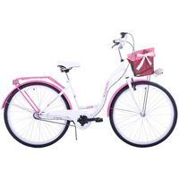 (K19) Rower miejski damski Kozbike 28 biało-różowy 3biegi 2019 KOZBIKE_CZARNE_OPONY (kolory) 3B (28) KOSZ I WKŁADKA (-30%)