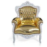 Design by impresje24 Stylowy, barokowy fotel królewski, złota eko-skóra, biała rama.