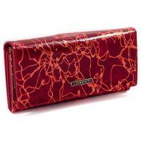 Skórzany portfel damski czerwony lorenti 64003
