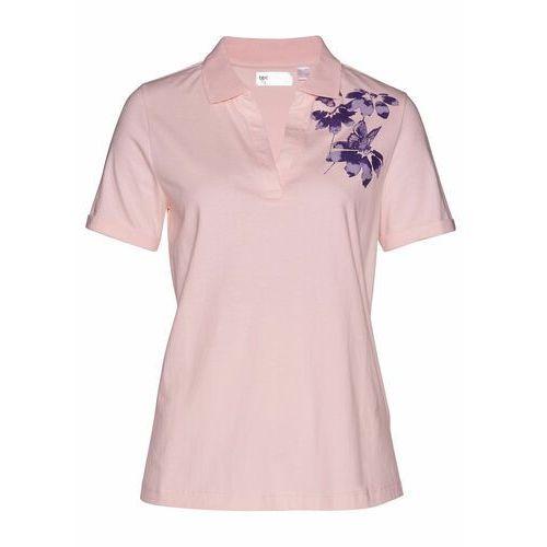 Bonprix Shirt polo pastelowy jasnoróżowy - ciemny lila z nadrukiem