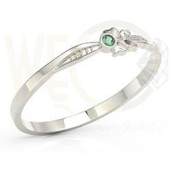 Węc - twój jubiler Pierścionek motylek z białego złota z zieloną cyrkonią bp-89b-c - białe