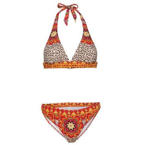 Bonprix Bikini z ramiączkami wiązanymi na szyi (2 części) czerwono-pomarańczowy leo z nadrukiem