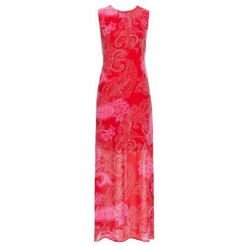 Długa sukienka szyfonowa bonprix truskawkowy paisley, w 5 rozmiarach