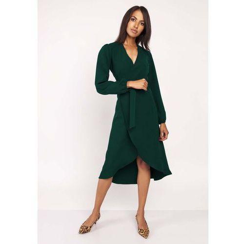 7d7af57eb6 Zobacz ofertę Zielona asymetryczna sukienka kopertowa z wiązanym paskiem  Lanti