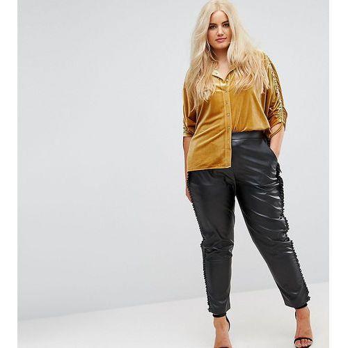 Elvi Faux Leather Cigarette Trouser With Frill Side Detail - Black, skóra