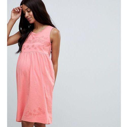 Mamalicious embroidered sleeveless jersey midi dress in pink - Pink