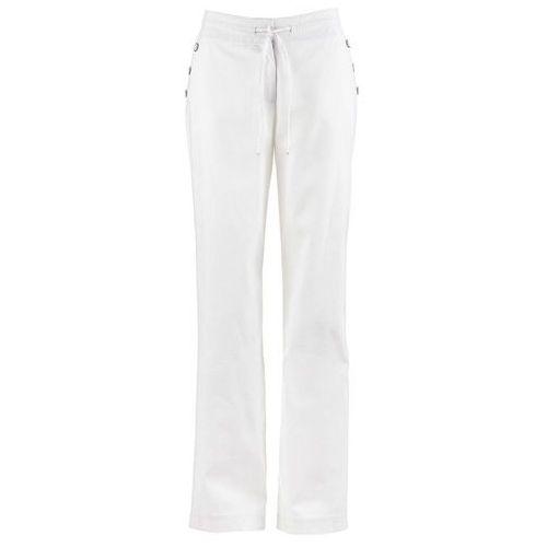 Szerokie spodnie lniane z elastycznym paskiem FLARED bonprix biały