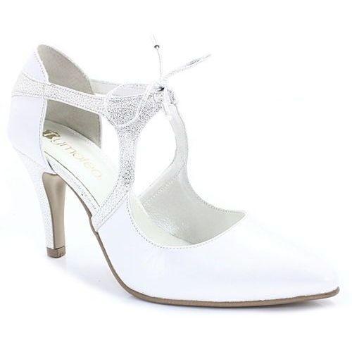 Tymoteo emma biała perła+srebro - buty ślubne - biały ||srebrny