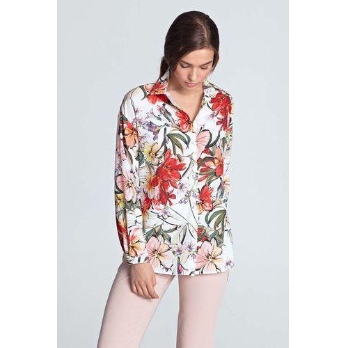 Biała modna koszula ze stójką i zakładkami (Nife) sklep  Hld7v