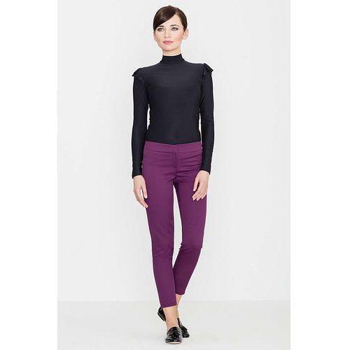 Fioletowe Eleganckie Spodnie z Suwakami, kolor fioletowy