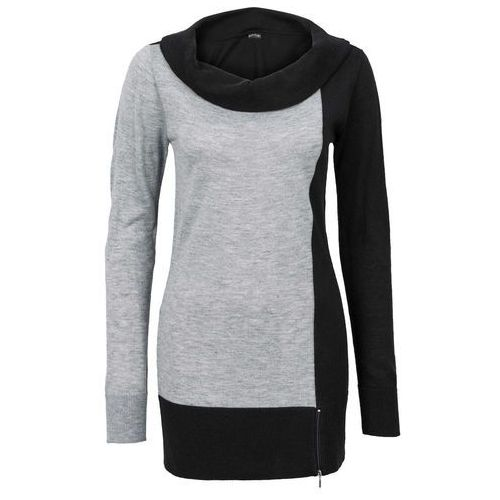 Sweter bonprix szaro-czarny, w 8 rozmiarach