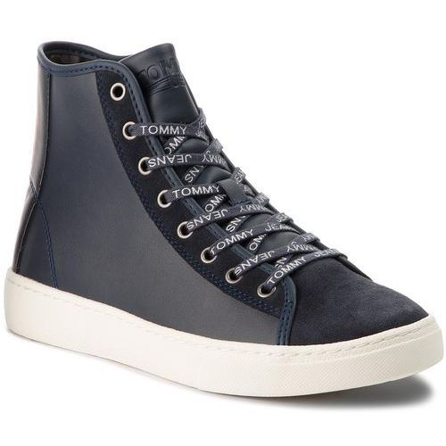 Sneakersy TOMMY JEANS - Light Sneaker Mid EM0EM00125 Ink 006, kolor niebieski