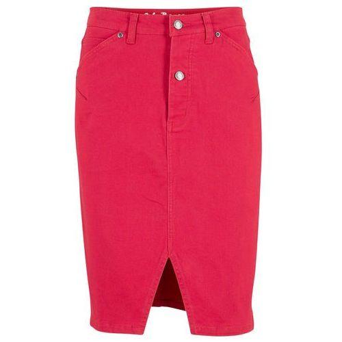 Spódnica dżinsowa ze stretchem czerwony twill, Bonprix, 50-54