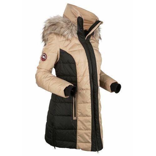 Krótki płaszcz outdoorowy bonprix beżowo-czarny, poliester