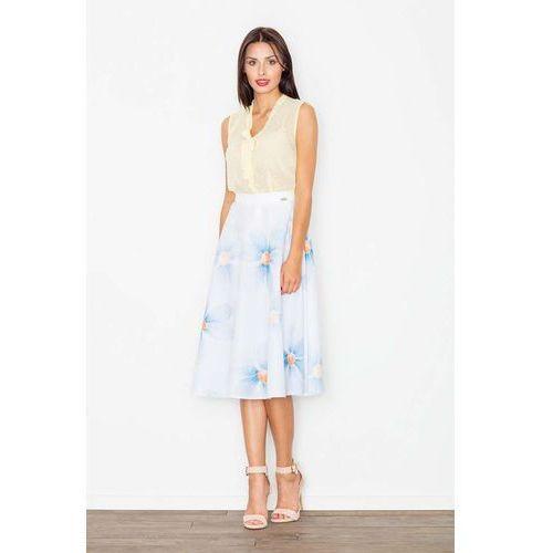 Spódnica midi rozkloszowana w kolorowe kwiaty w odcieniach błękitu marki Figl