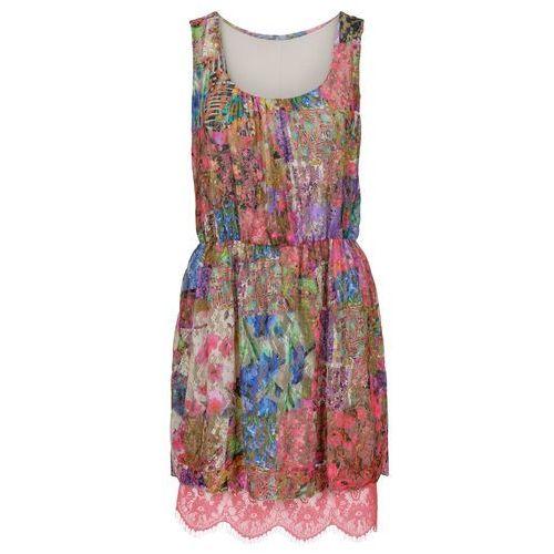 Sukienka z drukowaną wstawką siatkową różowo-kolorowy wzorzysty marki Bonprix