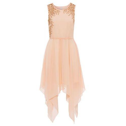 Bonprix Sukienka z dłuższymi bokami jasny brzoskwiniowy
