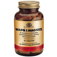 Tabletki SOLGAR Wapń i Magnez w post.cytrynianu - - 50 tabl.