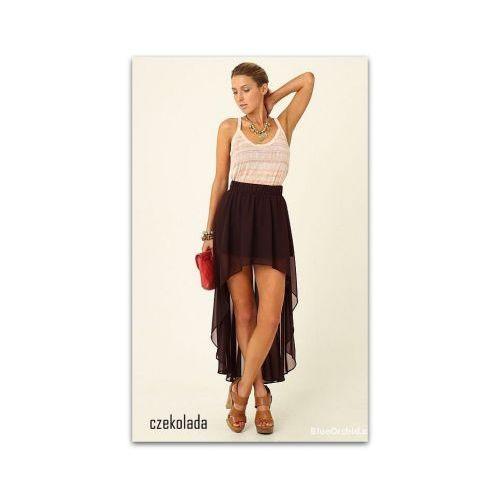 Zwiewna maxi spódnica asymetryczna szyfon czekoladowy, kolor brązowy