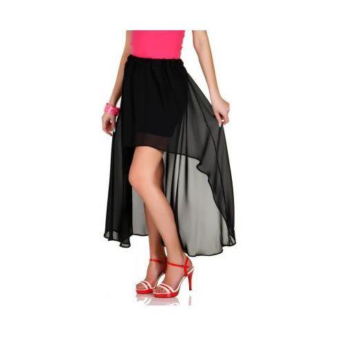 Zwiewna maxi spódnica asymetryczna szyfon czarny, Skopanie