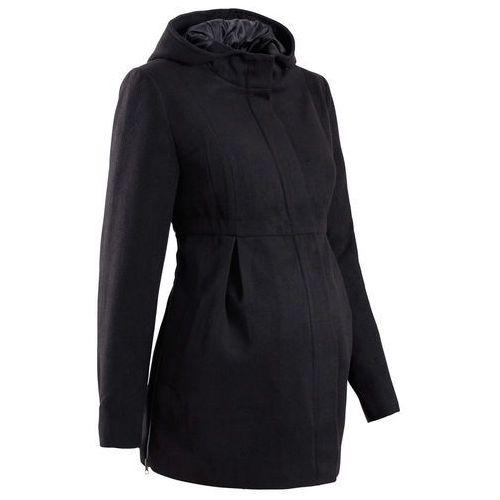 Płaszcz ciążowy z kapturem, z regulacją obwodu czarny marki Bonprix