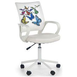 Fotel młodzieżowy Ator - biały w motyle