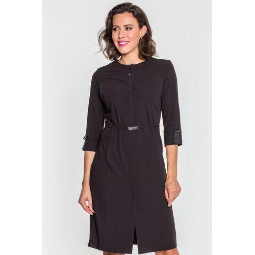 d3bbfe59fe Granatowa sukienka z falbaną na przodzie - GaPa Fashion