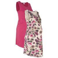 Sukienka shirtowa ciążowa (2 szt. w opak.) bonprix beżowy szary z nadrukiem + jeżynowy