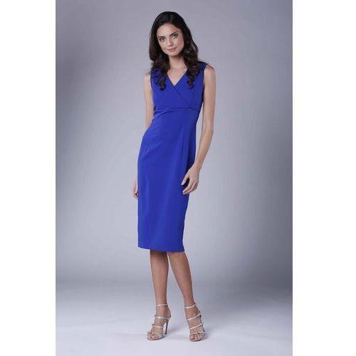 bb5cb29daf Zobacz ofertę Chabrowa Ołówkowa Sukienka Midi bez Rękawów z Kopertowym  Dekoltem