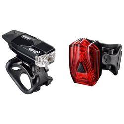 Lampka rowerowa przednia i tylna mini lava set czarny marki Infini