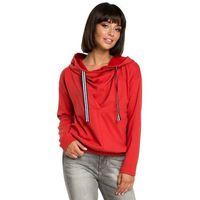 Czerwona krótka oryginalna bluza z kapturem