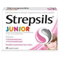 Pastylki STREPSILS JUNIOR x 24 pastylki smak truskawkowy