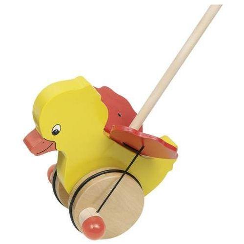 Drewniana zabawka do pchania na kółkach, kaczunia bunia ruszająca skrzydełkami Goki