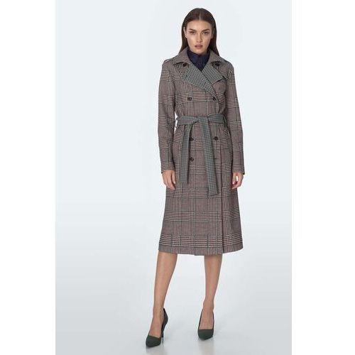 Dwurzędowy płaszcz w kratkę - pepitka, 1 rozmiar