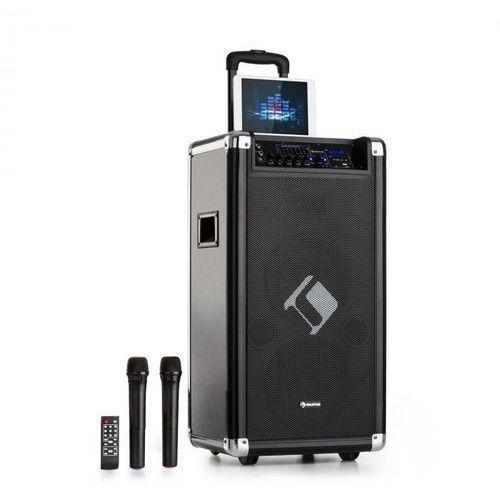 """Auna Moving 120 Zestaw nagłośnieniowy 2 x głośnik niskotonowy 8"""" 60/200 W max. mikrofony VHF USB SD BT AUX przenośny"""