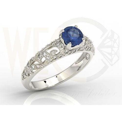 Węc  twój jubiler Pierścionek zaręczynowy z białego złota z szafirem i diamentami bp 50b  białe