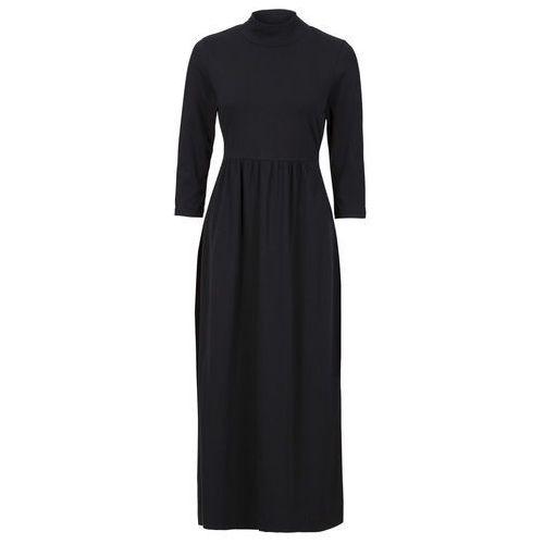 Sukienka shirtowa midi, rękawy 3/4 czarny marki Bonprix