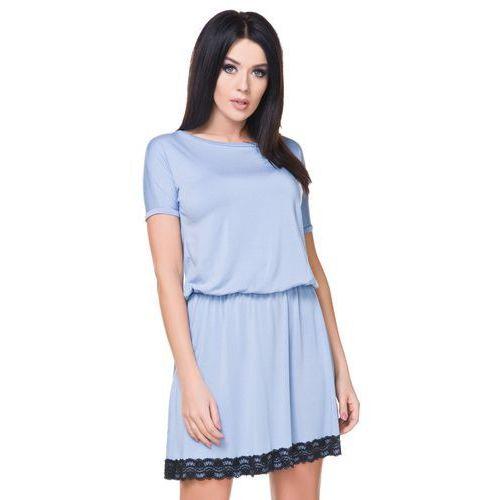 364c7bb03c ... Cienka sukienka z krótkim rękawem i odkrytymi plecami niebieska T171 -  Galeria ...