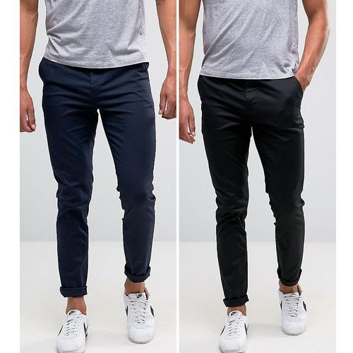 ASOS 2 Pack Skinny Chinos In Black & Navy SAVE - Black, chinosy