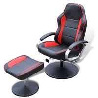 vidaXL Fotel TV ze sztucznej skóry, czarny z czerwonymi wstawkami podnóżkiem