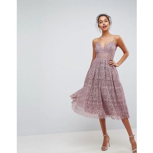 ASOS Lace Cami Midi Prom Dress - Purple