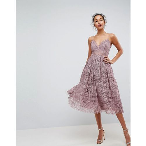 lace cami midi prom dress - purple marki Asos