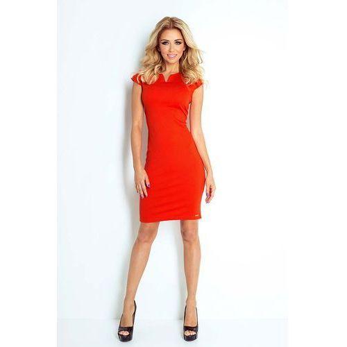 Pomarańczowa Sukienka Klasyczna Dopasowana z Zakładkami, C132-4or