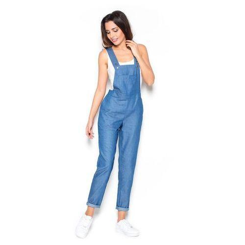 Jeansowe chabrowe spodnie ogrodniczki, Katrus, 36-42