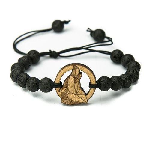 Drewniana bransoletka wilk geometryczny aniegre kamień wulkaniczny marki Bewood