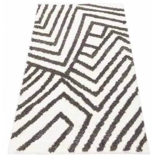 Dywan Shaggy Eco Komfort Mila 120x170 Biały Szary Pasy Grafiti Zygzaki Myretail
